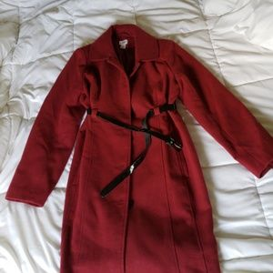 Burgundy Winter maternity coat